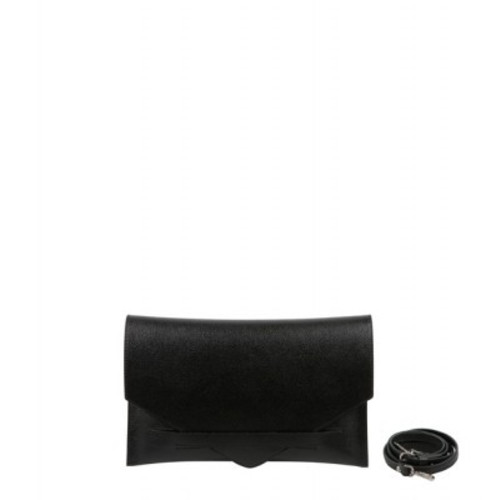 Black Leather Envelope Style Clutch Bag Image