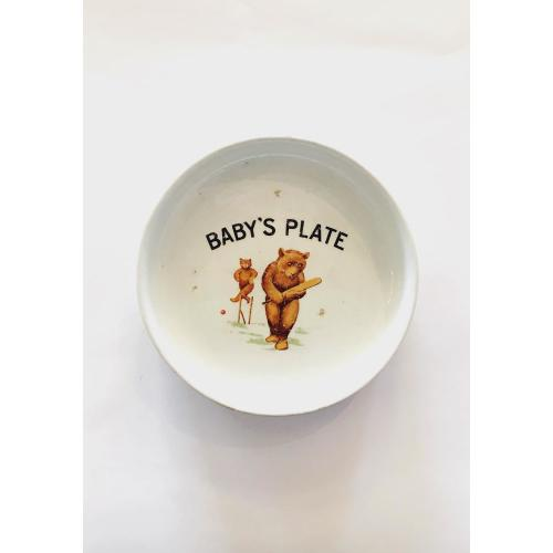 Bears Playing Cricket Baby Plate Image