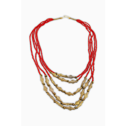 Red Glass and Brass Bead Cascade Necklace Image
