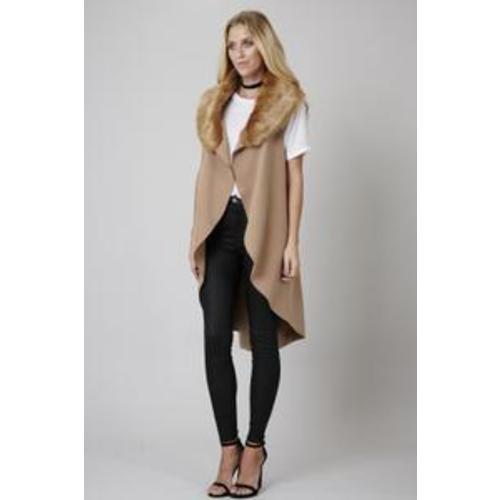 Faux Fur Collar Waterfall Waistcoat Image
