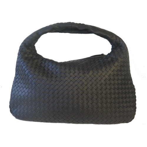 Black Woven Leather Bag Image