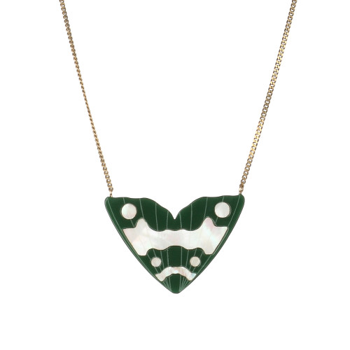 Monarch Inlay Pendant   Forest Green with white pearl Image