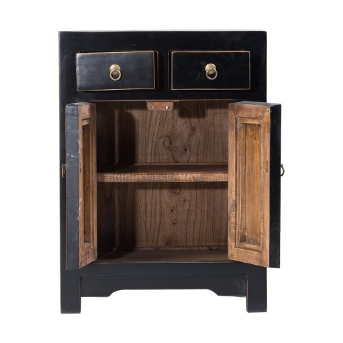 Black Chinese Cabinet with Woven Panels Image