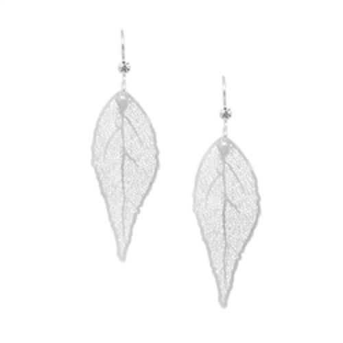 Silver Leaf Crystal Earrings Image