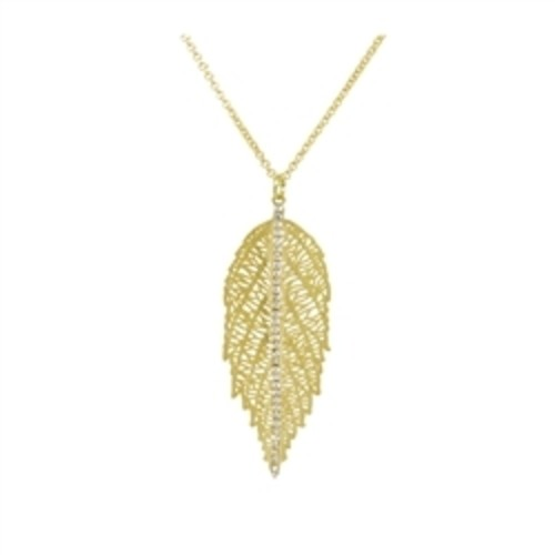 Leaf With Crystals Necklace Gold Image
