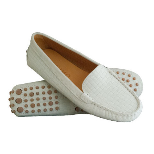 Beige Patterned Suede Driving Shoe Image