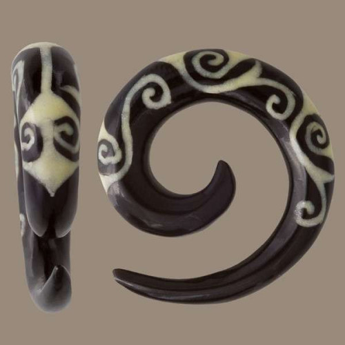 Horn Spiral Ear Stretcher with Bone Tiki Style Inlays Image
