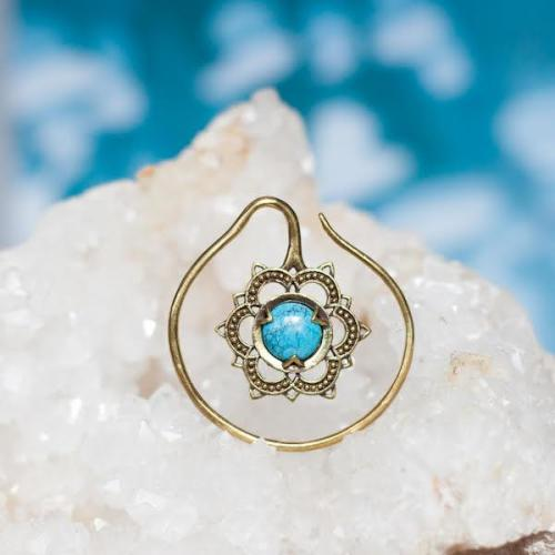 Brass Mandala Flower and Turquoise Earrings Image