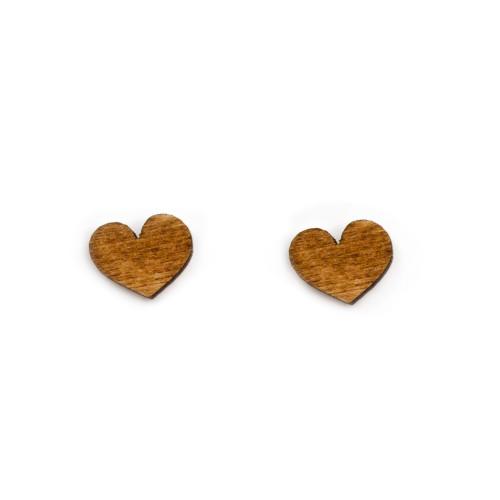 Wooden Heart Earrings - Dark Image
