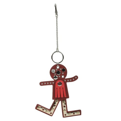 MARC JACOBS SCREWED UP FACES RED LEATHER BAG CHARM Image