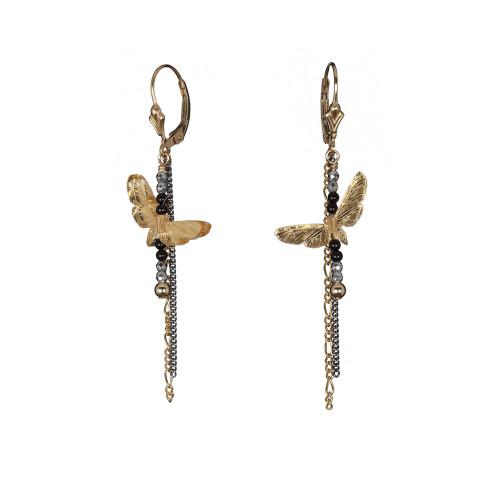 Moth Short Drop Chain Earrings in Gold/Black Image