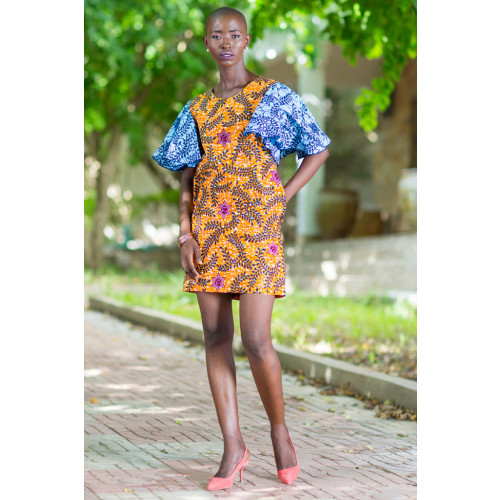 Shift Dress with Flared Sleeves in Contrast African Prints Image