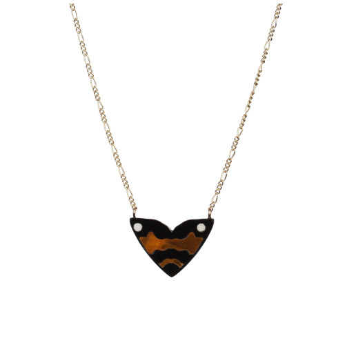 Monarch Mini Inlay Pendant   Black with gold and white Mother of Pearl Image