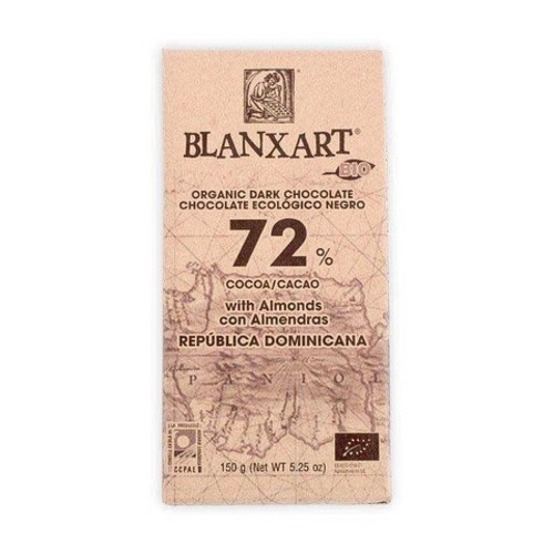 Blanxart 72% Organic Dark Chocolate with roasted Almonds 150g Image