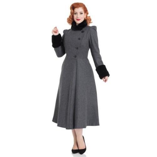 Grey Violet Fur trim coat Image