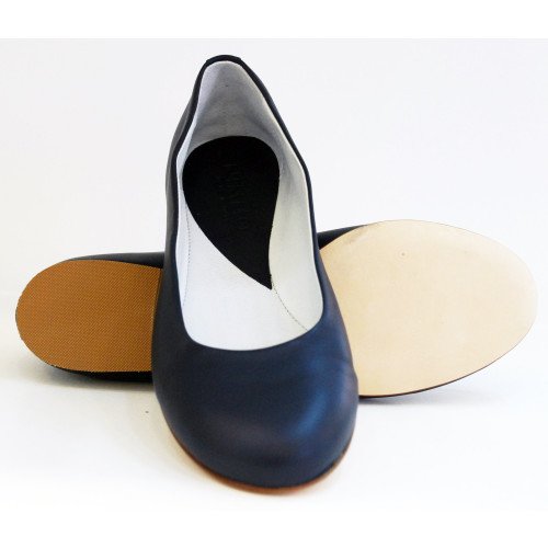 Navy Leather Ballet Shoe Image