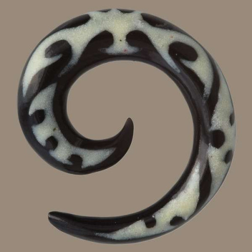 Horn Spiral Ear Stretcher with Mauri Style Bone Inlays Image