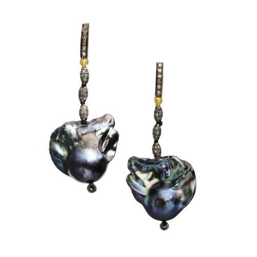 Grey Pearl and Diamond Earrings Image