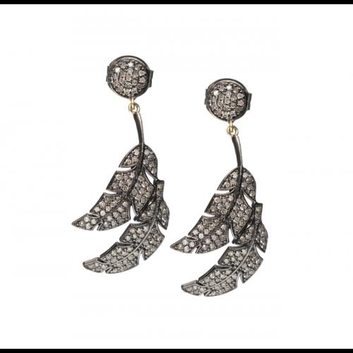 Diamond Double Feather Earrings Image