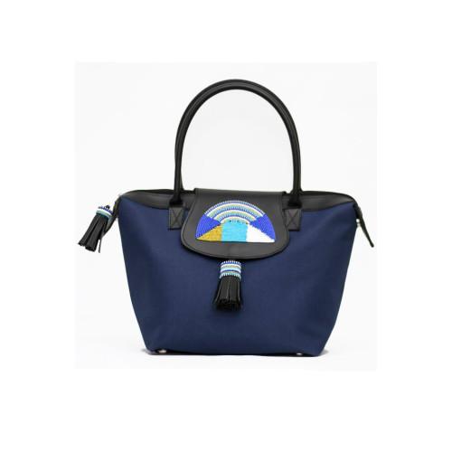 Safari Midi Tote Shopper Bag - Blue Image