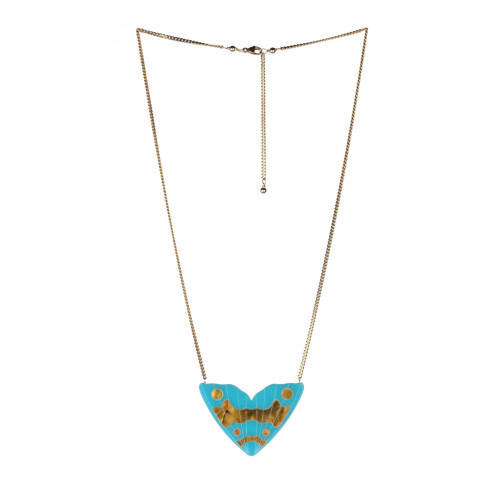 Monarch Inlay Pendant   Turquoise with Gold Pearl Image