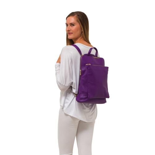 Ricky , Leather Rucksack , Purple Image