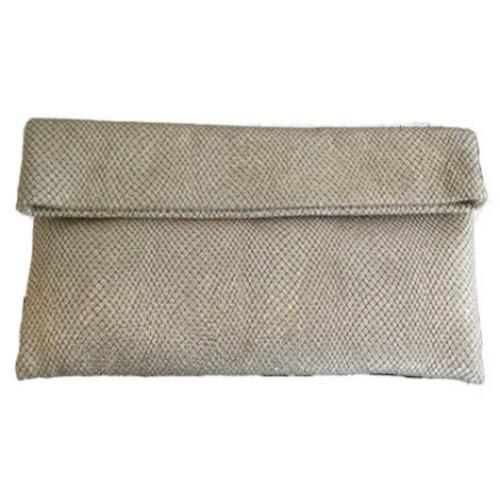 Beige Shimmer Leather Clutch Image