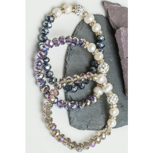 Cara Crystal Ball Pearl Bracelet / Smoke Image