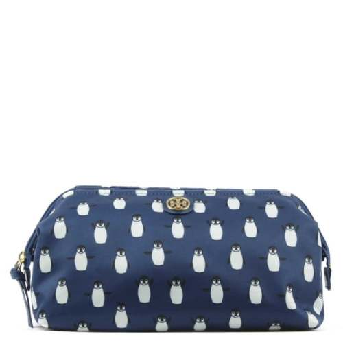 TORY BURCH PENGUIN PRINT NYLON COSMETIC CASE Image
