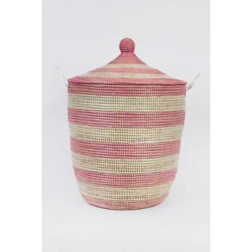 Laundry Basket Conical Pink Stripe: Large Image