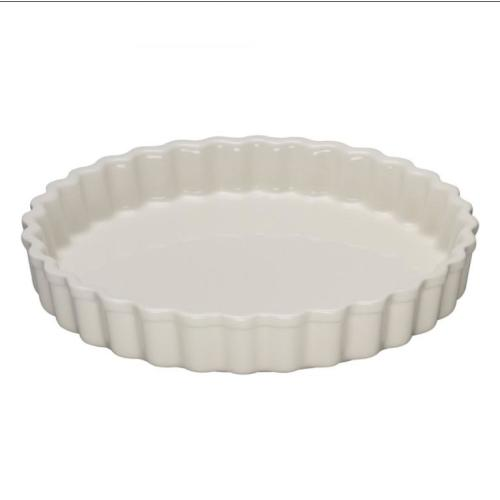 Fluted flan dish 24cm pearl Image