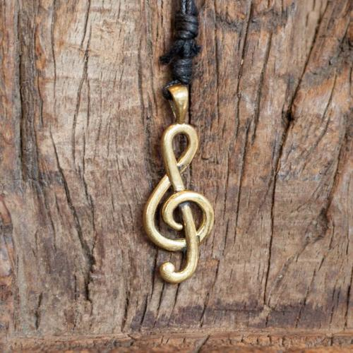 Brass Music Note  Necklace Image