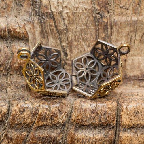 Brass Locket Pendant with Flowers Image