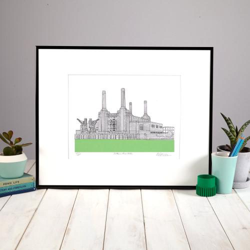 Battersea Powerstation Screenprint Green Image