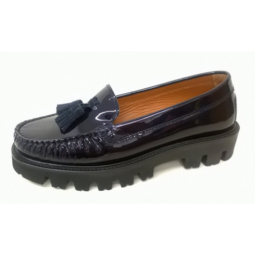 Blue Patent Chunky Suede Loafer with Tassels Image