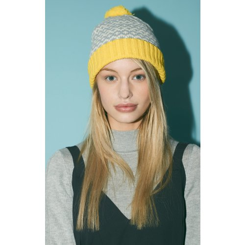 Yellow Graphic Pompom beanie by Miss Pompom Image