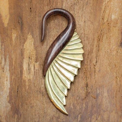 Brass Wings and Wood gauge hook earring Image