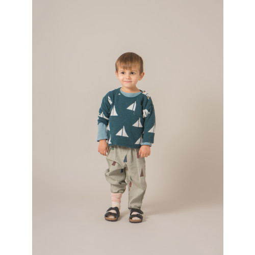Bobo Choses Baby Alma Knitted Jumper with Sail Boats all over Image