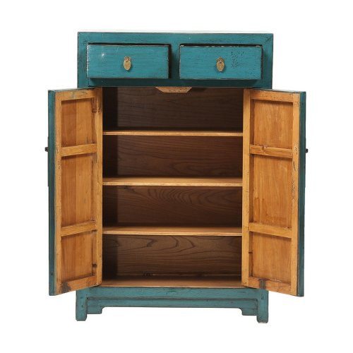 Turquoise Chinese Cabinet with High Doors Image