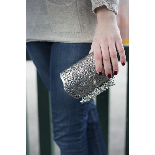 Ornate Silver Clutch Bag Image