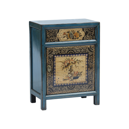 Painted Blue and Black Chinese Bedside Cabinet Image