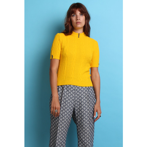60s 70s Vintage Yellow Ribbed Knit Top Image