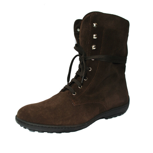Brown Suede Boots with Laces Image