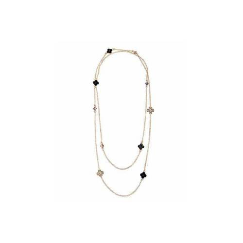 Gigi , Long Necklace , in Gold Finish Metal and Black Enamel Image