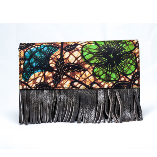 Green and Brown Fringe Purse Image