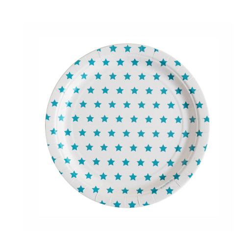 Pack of 8 paper plates - blue stars Image
