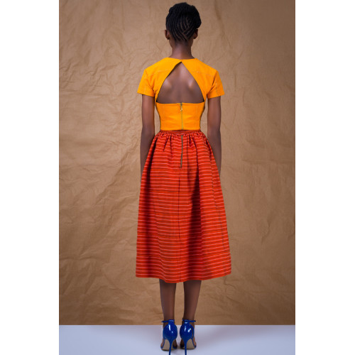 Gathered Skirt in African Handwoven Cotton Image