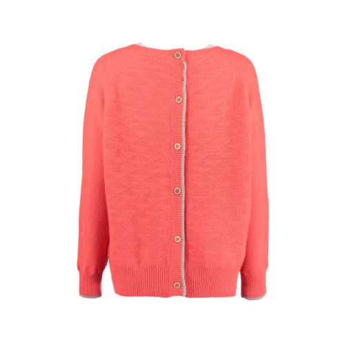 Watermelon Cashmere blend button back reversible sweater by Lowie Image