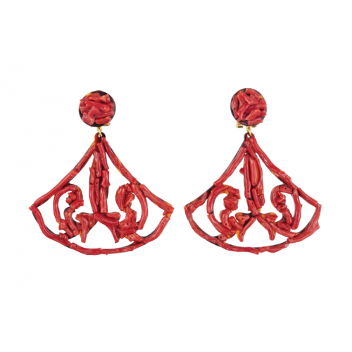 Triangle Coral Earrings Image
