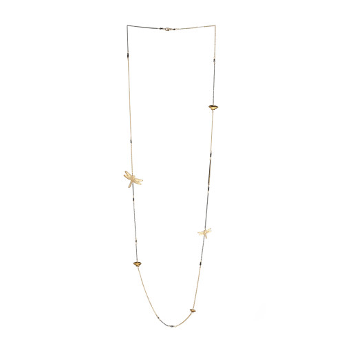 Dragonfly Long Necklace Gold Image